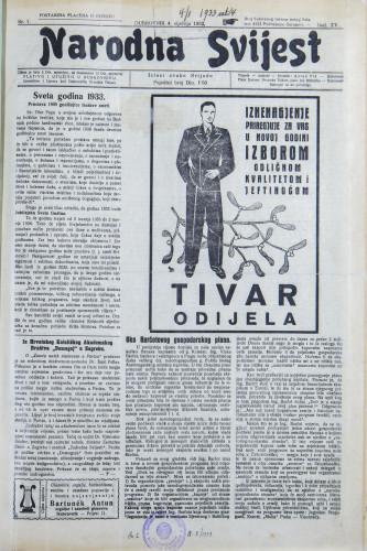 Narodna svijest, 1933/1