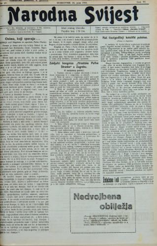 Narodna svijest, 1924/27