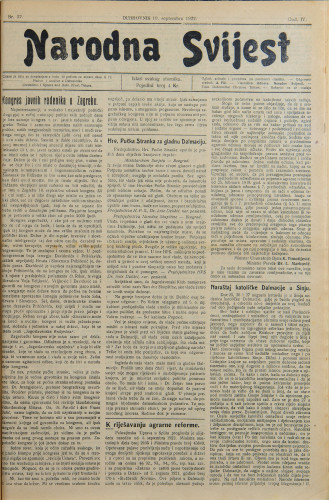Narodna svijest, 1922/37