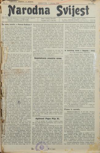 Narodna svijest, 1926/1