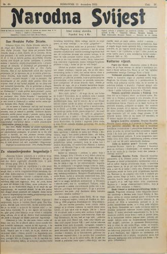 Narodna svijest, 1922/49