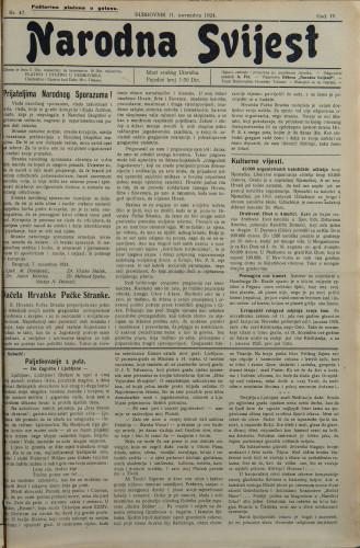 Narodna svijest, 1924/47