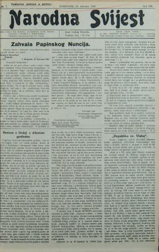 Narodna svijest, 1926/7