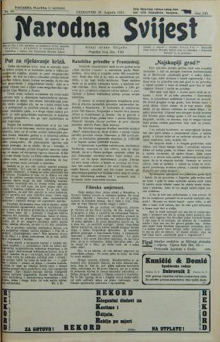 Narodna svijest, 1931/35