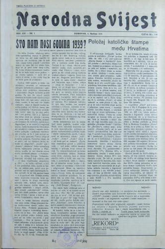 Narodna svijest, 1939/1