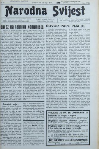 Narodna svijest, 1936/38