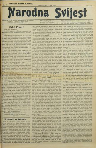 Narodna svijest, 1925/26
