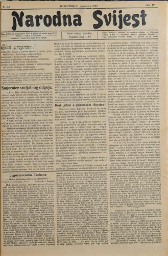 Narodna svijest, 1922/46