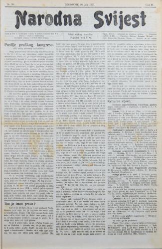 Narodna svijest, 1921/30