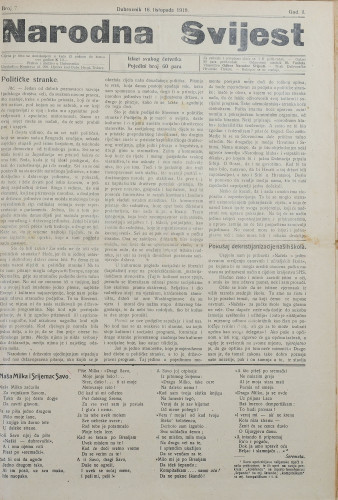 Narodna svijest, 1919/7