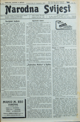 Narodna svijest, 1928/39