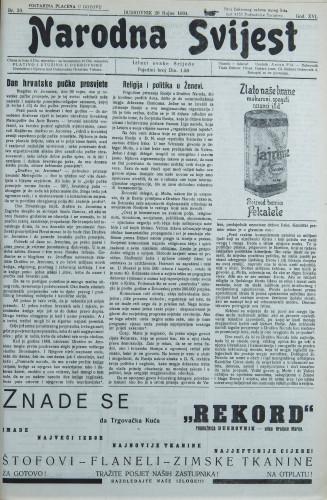 Narodna svijest, 1934/39