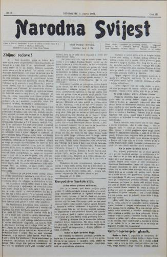 Narodna svijest, 1921/9