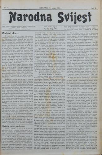 Narodna svijest, 1920/27