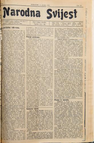 Narodna svijest, 1922/39