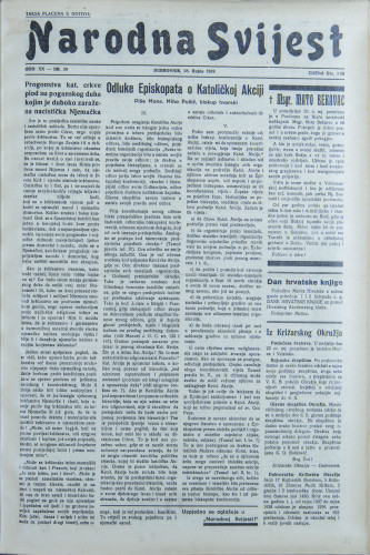 Narodna svijest, 1938/39