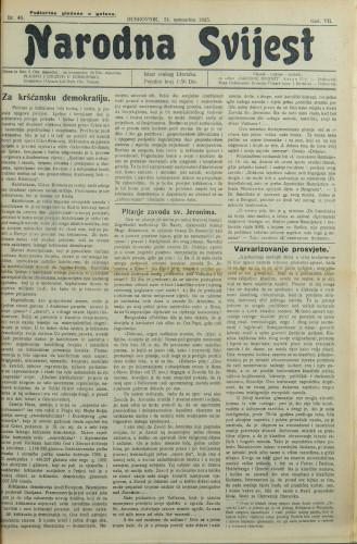 Narodna svijest, 1925/48