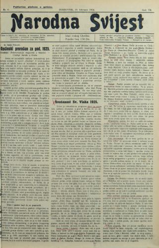 Narodna svijest, 1925/6
