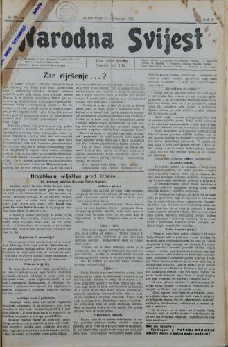 Narodna svijest, 1920/47