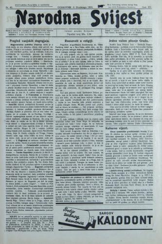 Narodna svijest, 1933/45