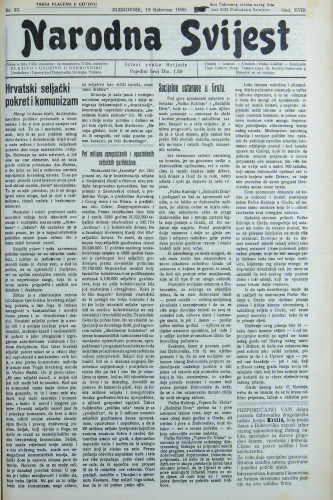Narodna svijest, 1936/33