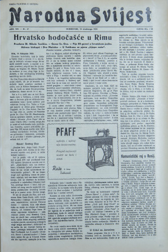 Narodna svijest, 1939/47