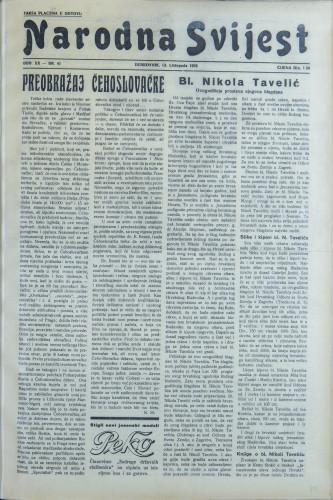 Narodna svijest, 1938/41