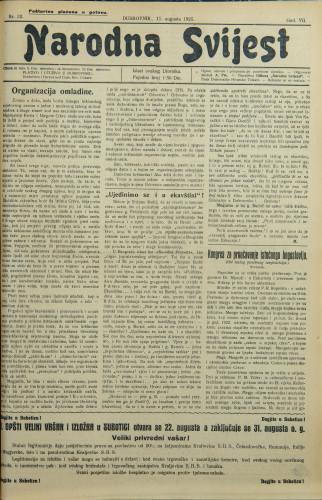Narodna svijest, 1925/32