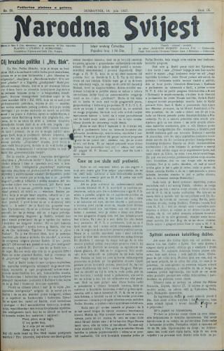 Narodna svijest, 1927/28