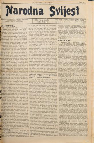 Narodna svijest, 1922/40