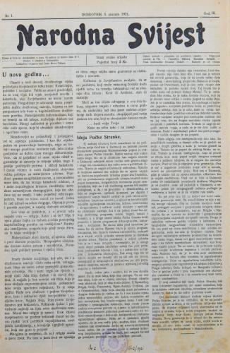 Narodna svijest, 1921/1