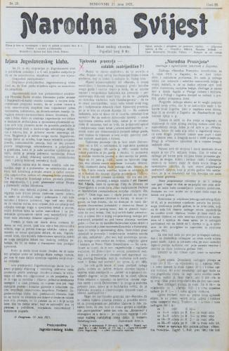 Narodna svijest, 1921/25