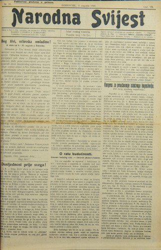 Narodna svijest, 1925/31