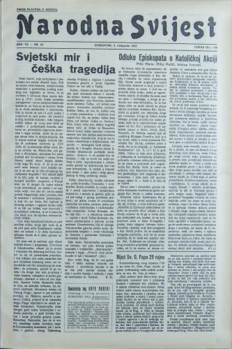 Narodna svijest, 1938/40