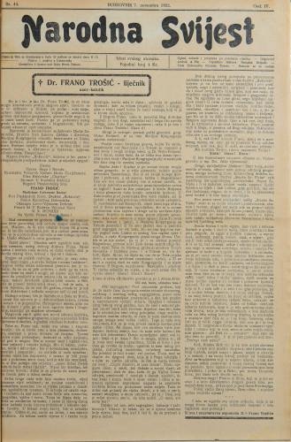 Narodna svijest, 1922/44