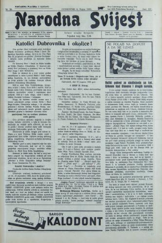Narodna svijest, 1933/36