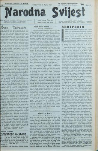 Narodna svijest, 1928/14