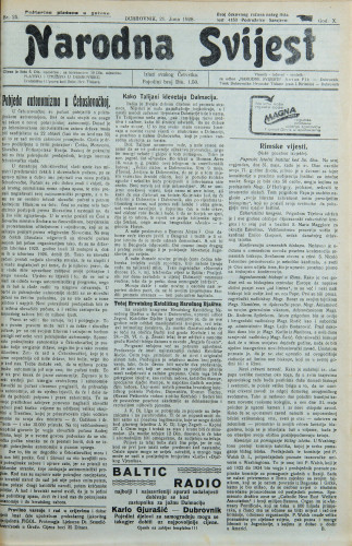 Narodna svijest, 1928/25