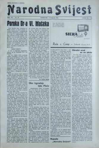 Narodna svijest, 1939/42