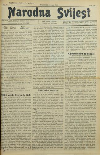 Narodna svijest, 1925/28