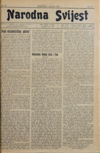 Narodna svijest, 1922/36
