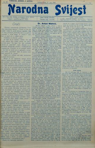 Narodna svijest, 1926/29