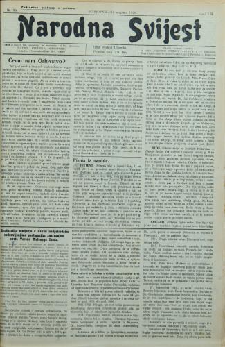 Narodna svijest, 1926/35