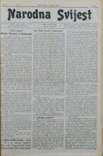Narodna svijest, 1920/41