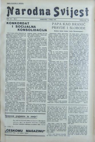 Narodna svijest, 1938/9