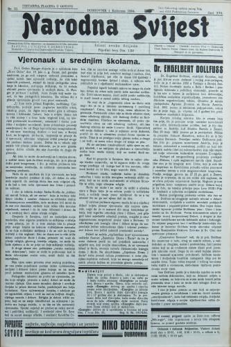 Narodna svijest, 1934/31