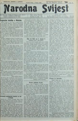 Narodna svijest, 1928/9