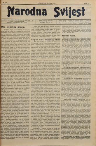 Narodna svijest, 1922/30