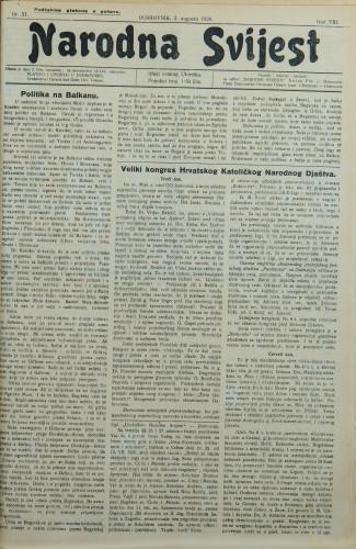 Narodna svijest, 1926/31