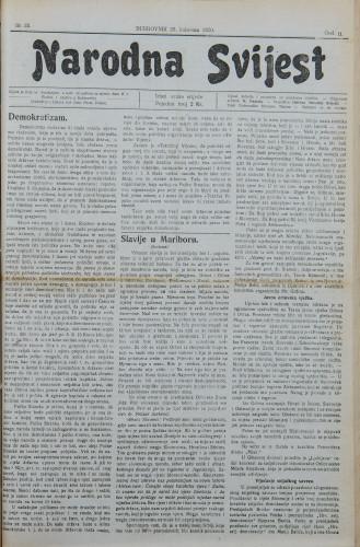 Narodna svijest, 1920/35